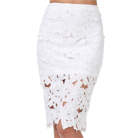 Women Summer Sheath Skirts Sexy White Crochet Lace Pencil High Waisted skirt With Lace Hollow Out Skirt