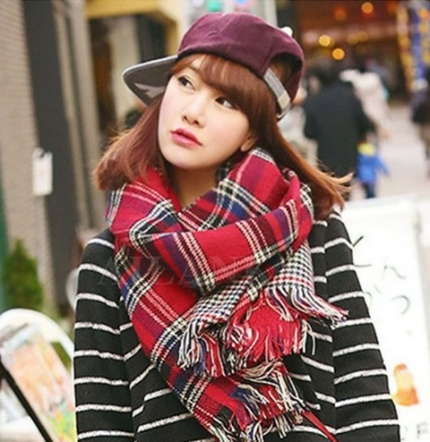 Ladies Scarf Fashion Houndstooth Winter Warm Plaid Double Side Thick Long Shawl Echarpe Pashmina Cape Women Scarves