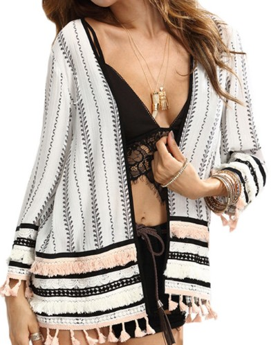 Womens Tops For Summer Ladies Multicolor Long Sleeve Black and White Print Open-Front Tassel Casual Kimono