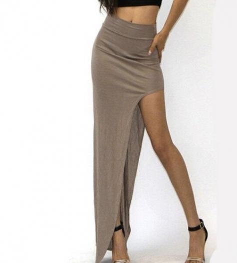 New Fashion Charming Sexy Women Lady Long Skirts Open Side Split Skirt Long  Skirt Black