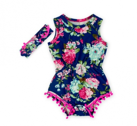 Navy Blue Pink Hot Pink  Flower Pom Rompers For baby girls shabby chic romper, baby play suit, baby