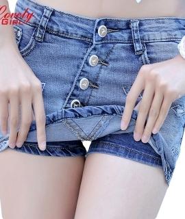 Summer 2016 New Fashion Skort Shorts Denim Korean Style Plus Size S-3XL Women's Skorts Skirt Sli Sexy Woman Short Jeans