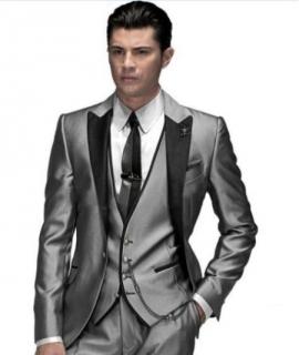 Custom Made Groom Tuxedo Silver Suit Peaked Lapel Best man Groomsman Men Wedding/Prom Suits Bridegroom Jacket+Pant+Vest+Tie