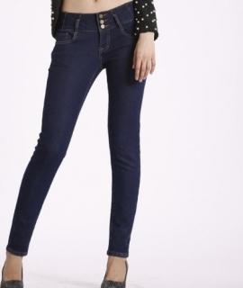 high waist fleece jeans women winter stretch jeans velvet warm pants deep blue tight legs slim jeans for girls new