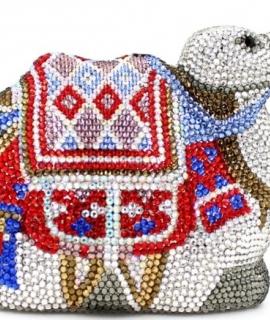 Fashion Lady Camel Shape Evening Clutch Purse Luxury Crystal Clutch Wedding Party Bag White